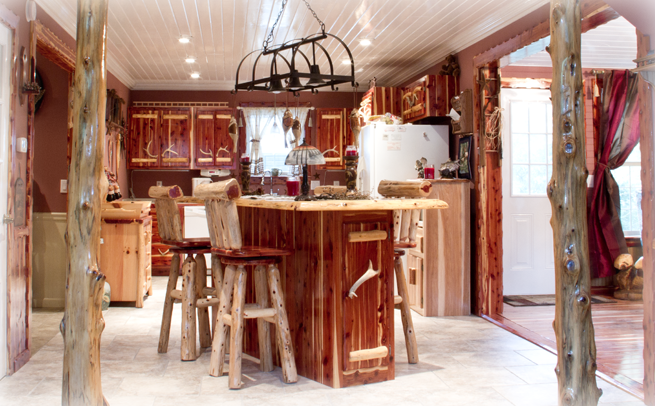 Red Cedar Kitchen Cabinets With Bar